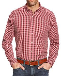 Ariat Men's Zach Wrinkle Free Long Sleeve Shirt, Red, hi-res