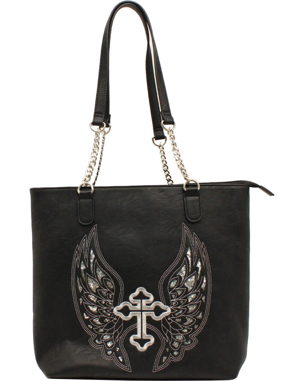 Blazin Roxx Women's Silver Cross and Wings Shoulder Bag, Black, hi-res