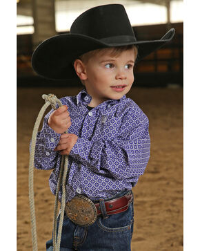 Cinch Toddler Boys' Geo Print Long Sleeve Shirt , Purple, hi-res