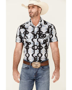 Rock & Roll Denim Men's All-Over Aztec Print Short Sleeve Snap Western Shirt , Black, hi-res