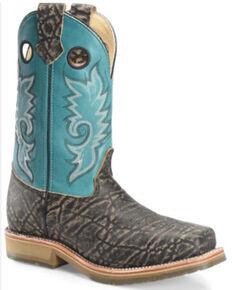 Double H Men's Shark Print Western Work Boots - Composite Toe, Black, hi-res