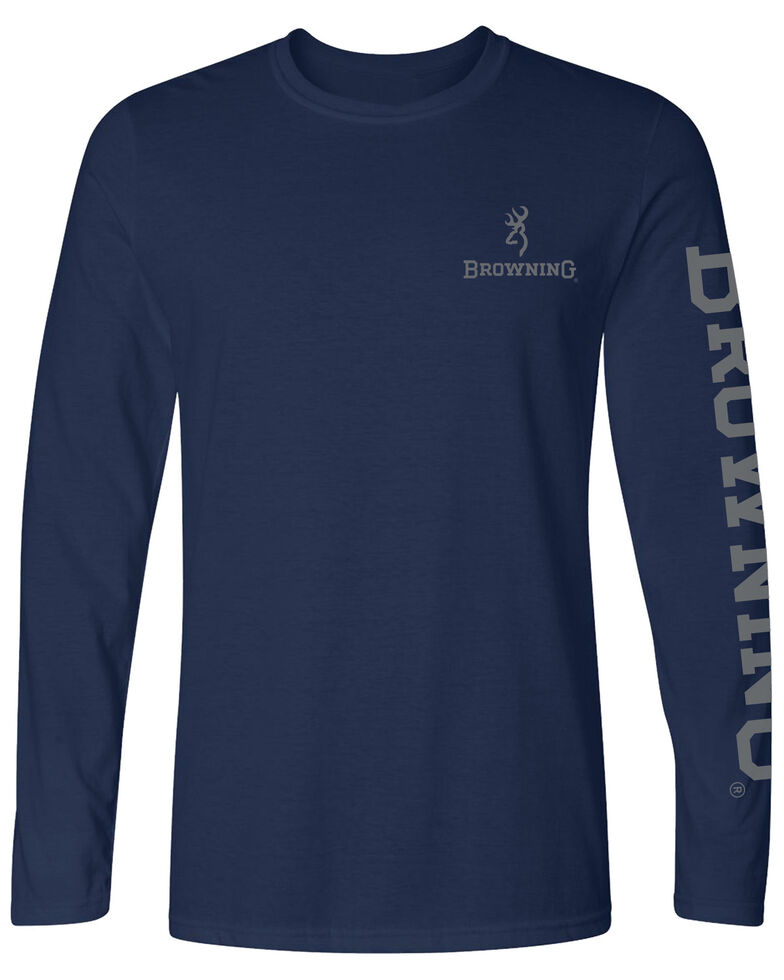 Browning Men's Navy Flag Graphic Long Sleeve T-Shirt , Navy, hi-res