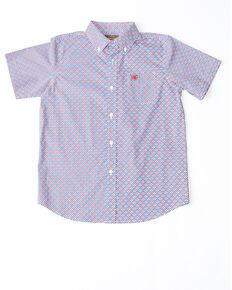 Ariat Boys' Odean Stretch Geo Print Short Sleeve Western Shirt , Blue, hi-res