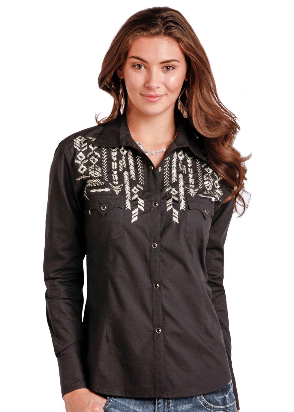 Panhandle Slim Women's Black Long Sleeve Two Pocket Shirt - Plus Size, Black, hi-res