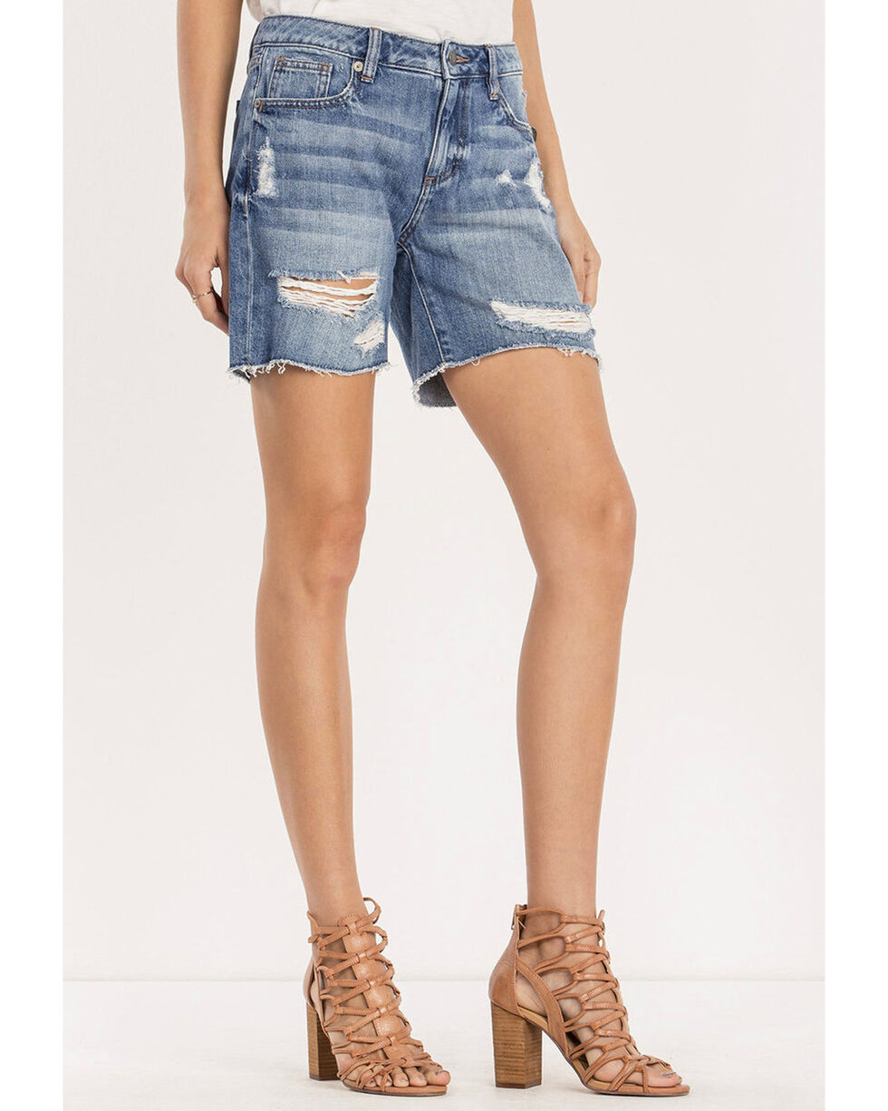 Miss Me Women's Break The Rules Mid-Rise Shorts , Indigo, hi-res