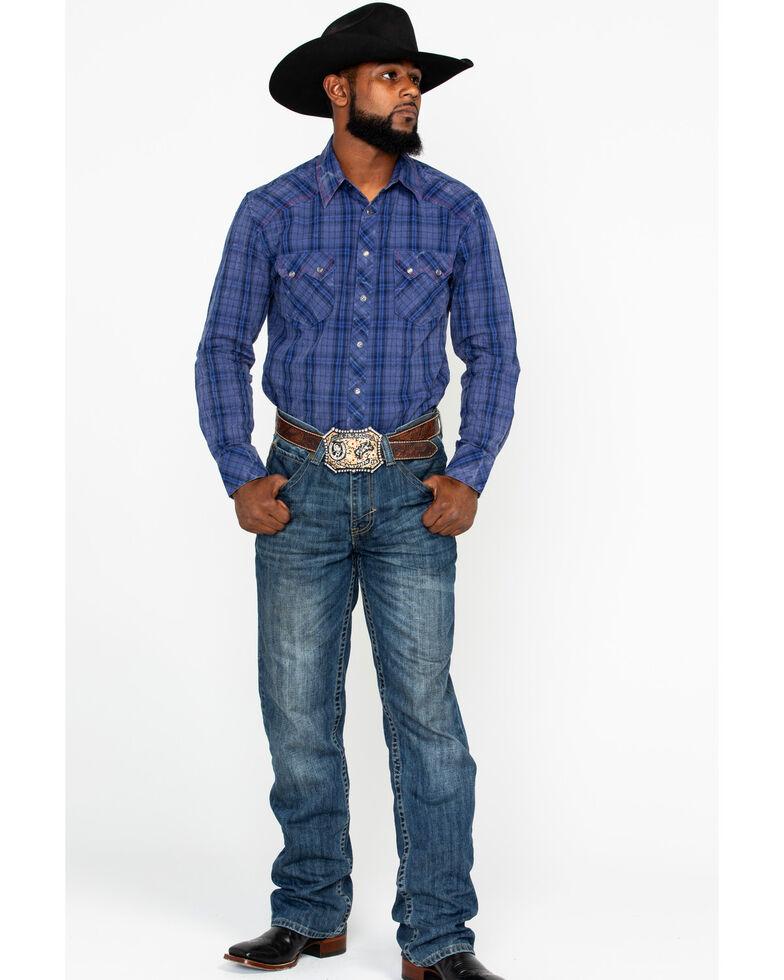 Rock & Roll Denim Men's Indigo Plaid Long Sleeve Western Shirt, Light Blue, hi-res