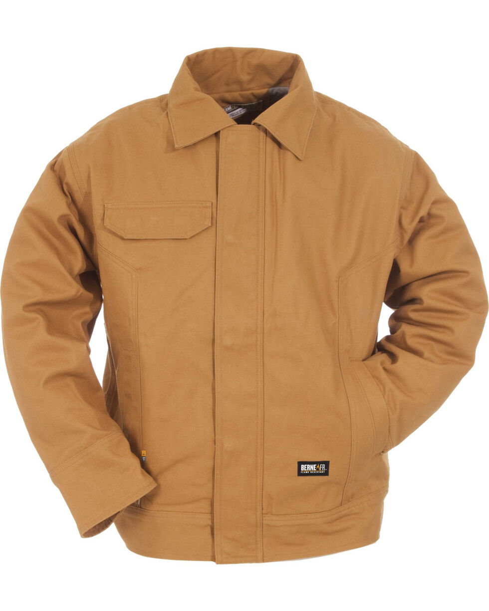 Berne Duck Flame Resistant Bomber Jacket - 3XL and 4XL, Brown, hi-res