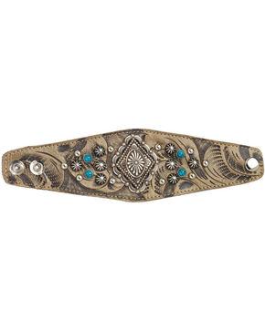 American West Women's Sand Diamond Concho Wide Cuff Bracelet , Sand, hi-res