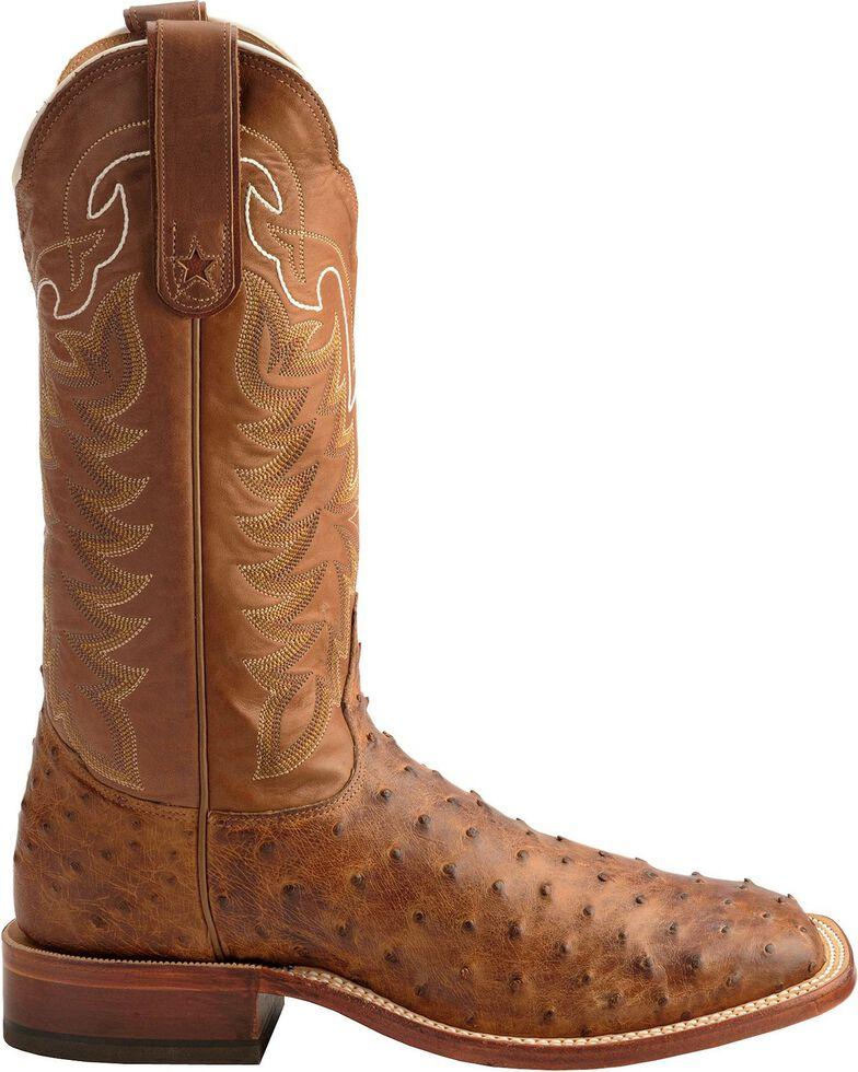 Tony Lama San Saba Vintage Full Quill Ostrich Cowboy Boots - Square Toe, Chocolate, hi-res