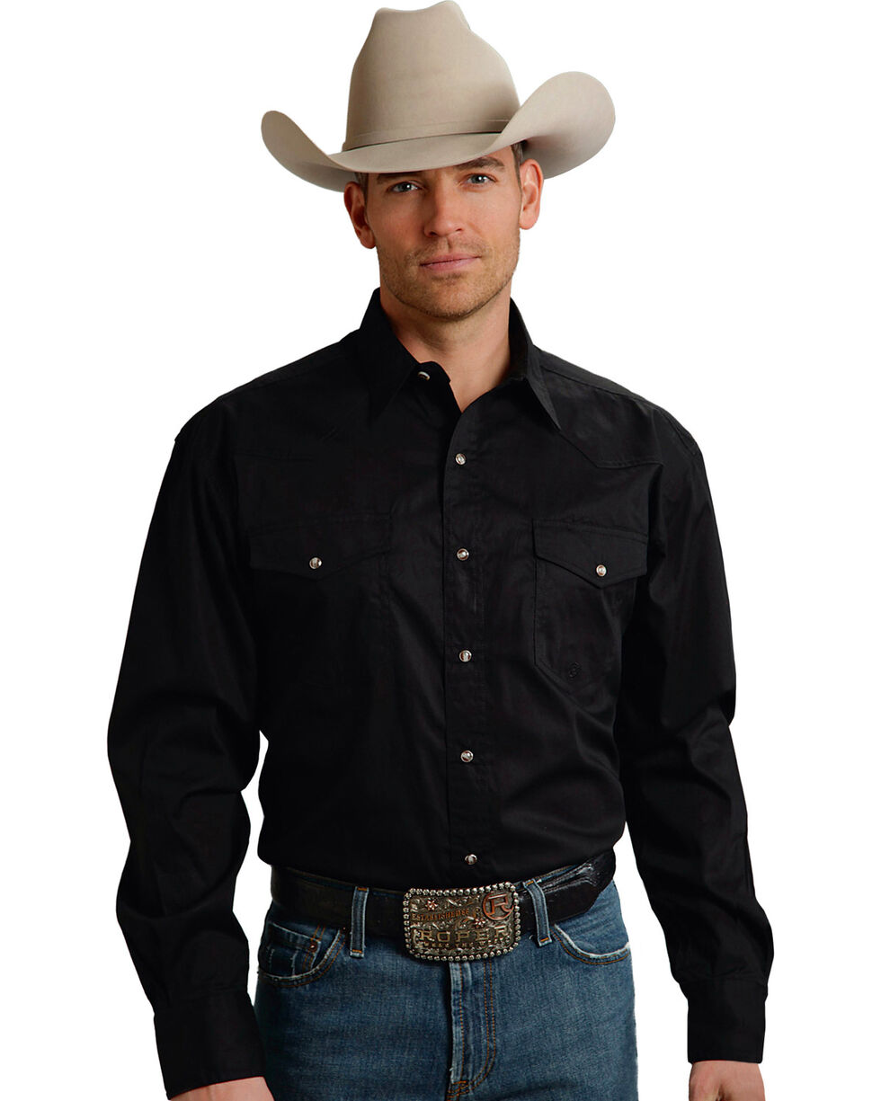 Roper Men's Amarillo Collection Poplin Shirt, Black, hi-res