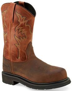 Old West Men's Brown Western Work Boots - Steel Toe, Brown, hi-res