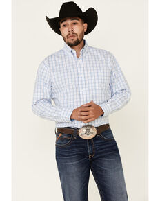 George Strait By Wrangler Men's White Small Plaid Long Sleeve Button Western Shirt - Tall, White, hi-res