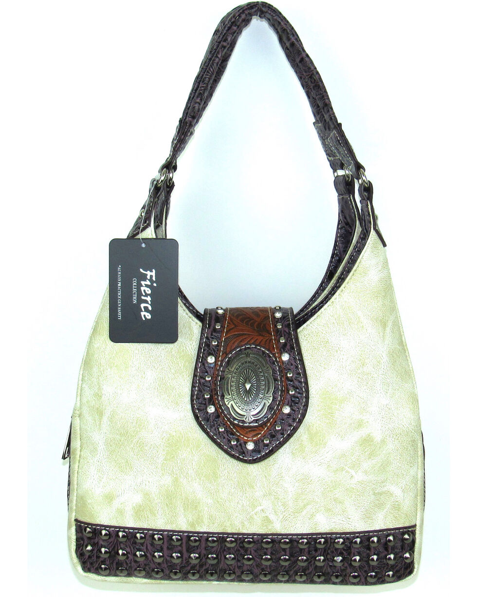 Savana Women's Fierce Concho and Croco Trim Conceal Carry Handbag, , hi-res