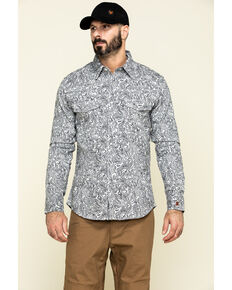 Rock & Roll Denim Men's FR Printed Paisley Twill Long Sleeve Work Shirt , Silver, hi-res