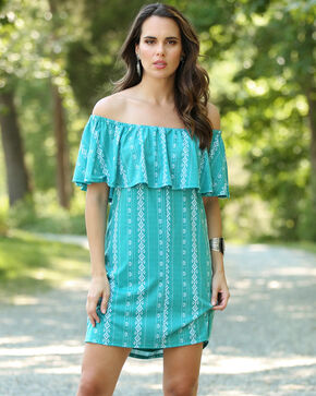 Wrangler Women's Teal Off The Shoulder Ruffle Dress , Teal, hi-res