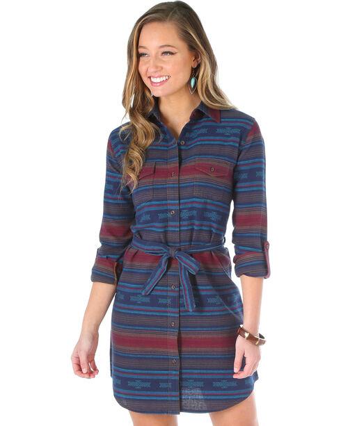 Wrangler Women's Aztec Flannel Shirt Dress, Navy, hi-res