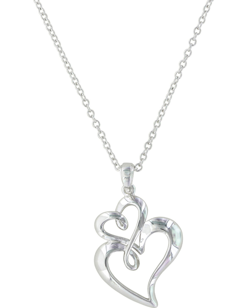 Montana Silversmiths Women's Infinite Love Heart Necklace , Silver, hi-res