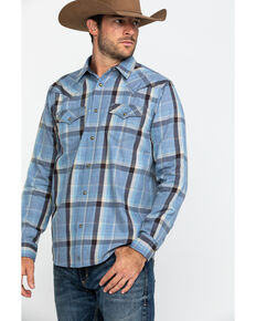 Moonshine Spirit Men's Stagg Bar Plaid Long Sleeve Western Flannel Shirt , Light Blue, hi-res