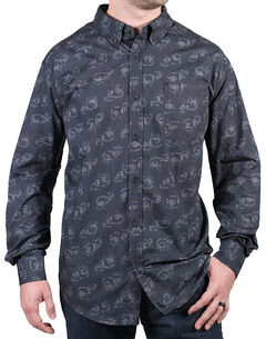 Cody James Men's Paisley Grey Long Sleeve Shirt, Grey, hi-res