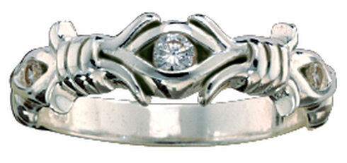 Montana Silversmiths Women's Barbed Wire Solitaire Ring, Silver, hi-res