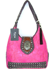 Savana Women's Fierce Tooled Design Conceal Carry Purse , Hot Pink, hi-res