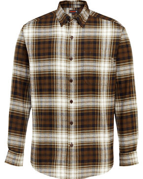 Wolverine Men's Rogan Plaid Flannel Shirt , Brown, hi-res