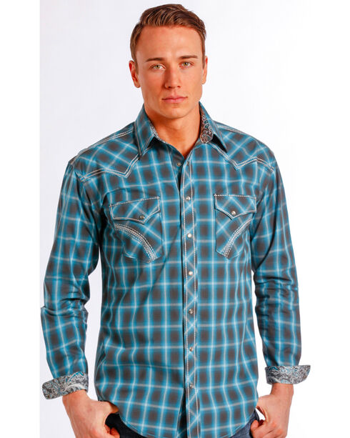 Rough Stock by Panhandle Slim Teal Plaid Barrow Western Shirt , Teal, hi-res