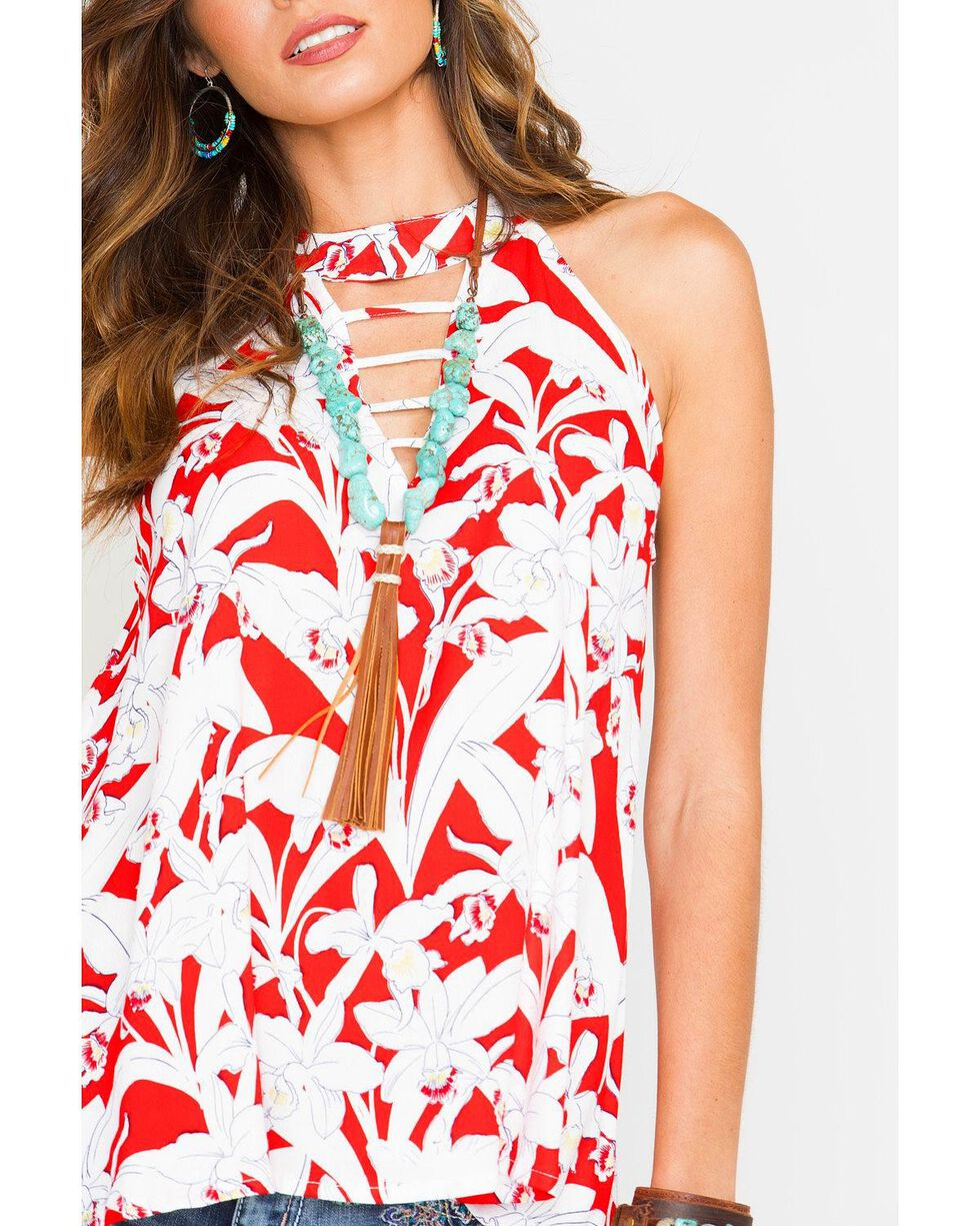 Miss Me Women's Floral Cutout Sleeveless Top, Red, hi-res