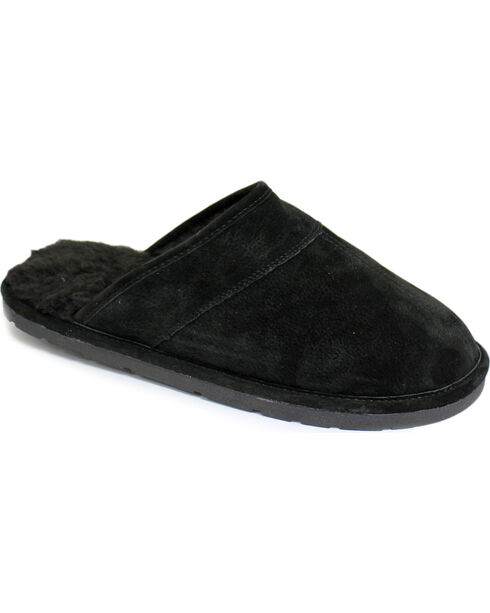 Men's Scuff Leather Slippers, Black, hi-res