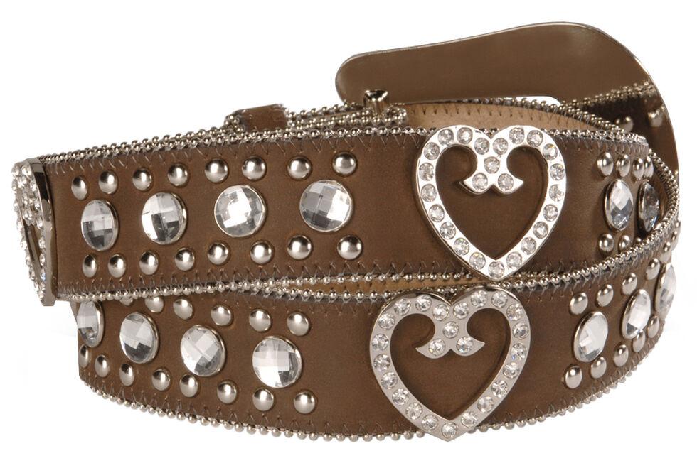 Blazin Roxx Bling Heart Belt, Brown, hi-res