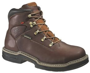 "Wolverine Buccaneer 6"" Waterproof Lace-Up Work Boots - Round Toe, Dark Brown, hi-res"