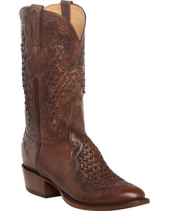 Lucchese Men's Aiden Chocolate Woven Leather Inlay Western Boots - Round Toe, Chocolate, hi-res