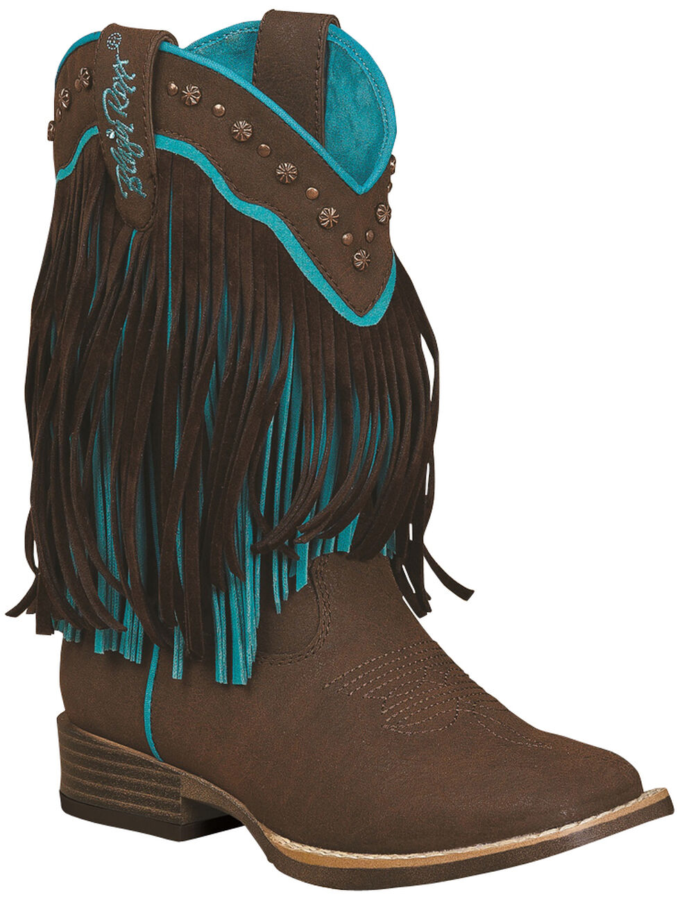 Blazin Roxx Toddler Girls' Candace Zipper Fringe Boots - Square Toe, Brown, hi-res
