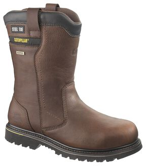 Caterpillar Elkhart Waterproof Pull-On Work Boots - Steel Toe, Oak, hi-res