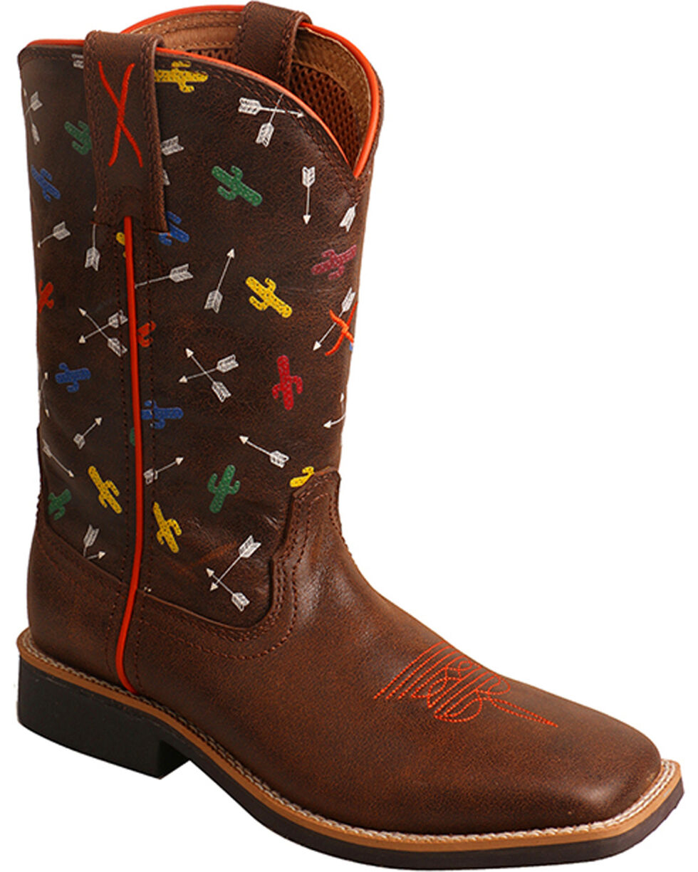 Twisted X Boys' Top Hand Arrow Cactus Cowboy Boots - Square Toe, Brown, hi-res