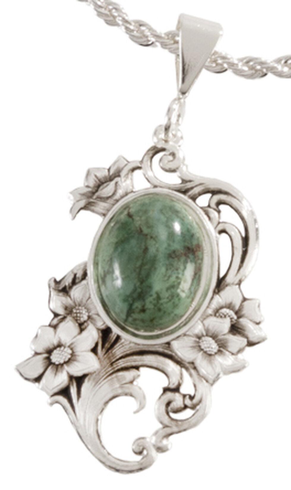 Montana Silversmiths Faux Turquoise Floral Pendant Necklace, Silver, hi-res