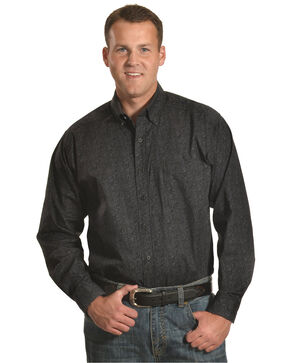 Tuff Cooper by Panhandle Men's Gray Paisley Print Shirt , Black, hi-res