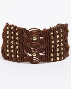 Shyanne Women's Emma Rae Dark Brown Macrame Gold Bead Tie Bracelet, Dark Brown, hi-res