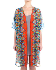 Glam Women's Chiffon Geo Print Kimono , Multi, hi-res
