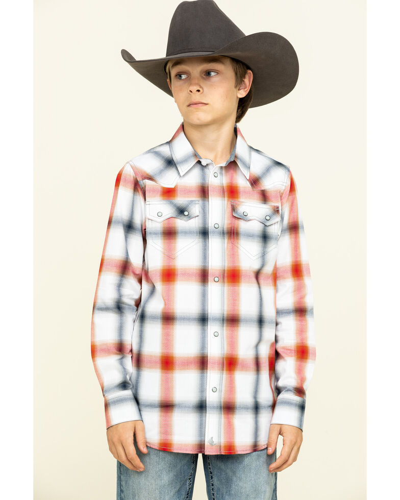 Cody James Boys' Prairie Large Plaid Long Sleeve Western Shirt  , Red, hi-res
