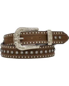 "Angel Ranch Women's 1.5"" Brown Gun Shell Concho Fashion Belt, Brown, hi-res"