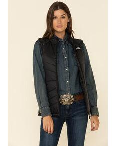 Powder River Outfitters Women's Black Conceal Carry Logo Vest, Black, hi-res