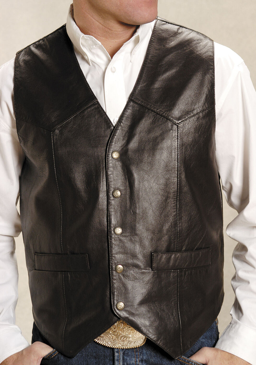 Roper Men's Basic Western Lambskin Vest - Tall, Brown, hi-res