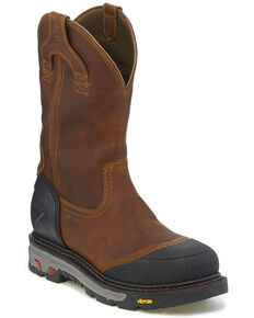 Justin Men's Chestnut Warhawk Waterproof Work Boots - Composite Toe, Chestnut, hi-res