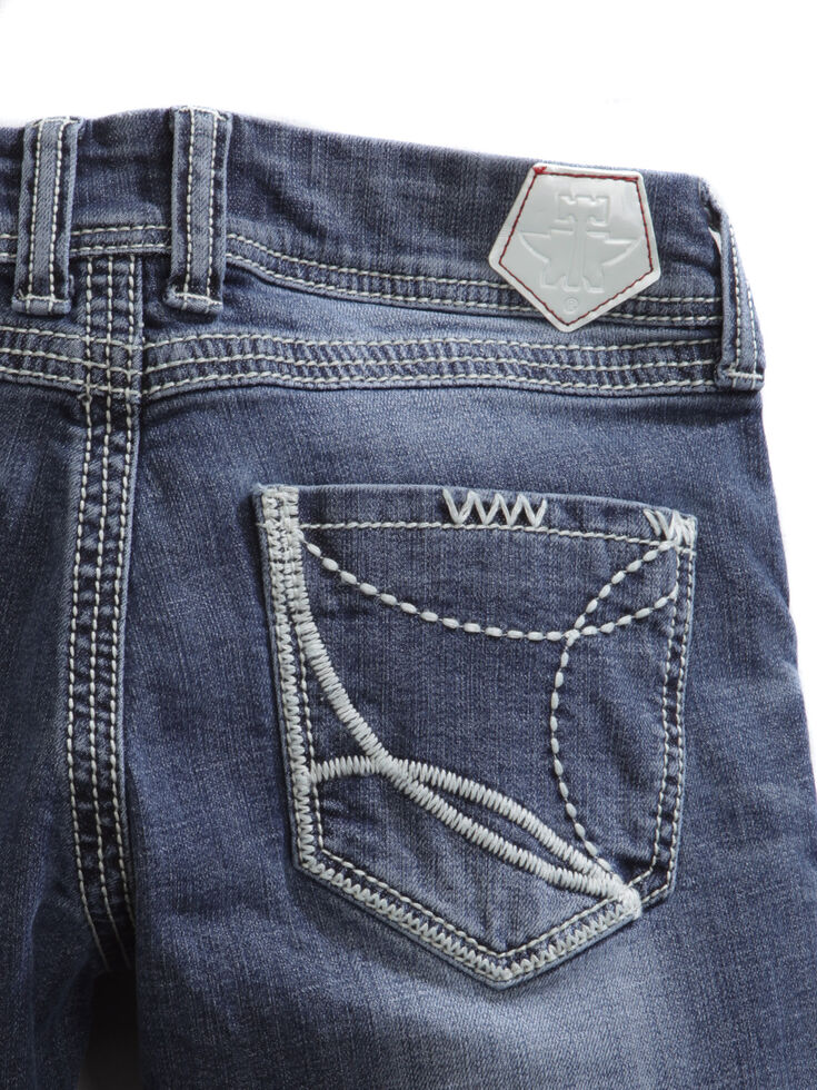 Tin Haul Women's Dolly Celebrity White Wave Stitch Bootcut Jeans, Denim, hi-res
