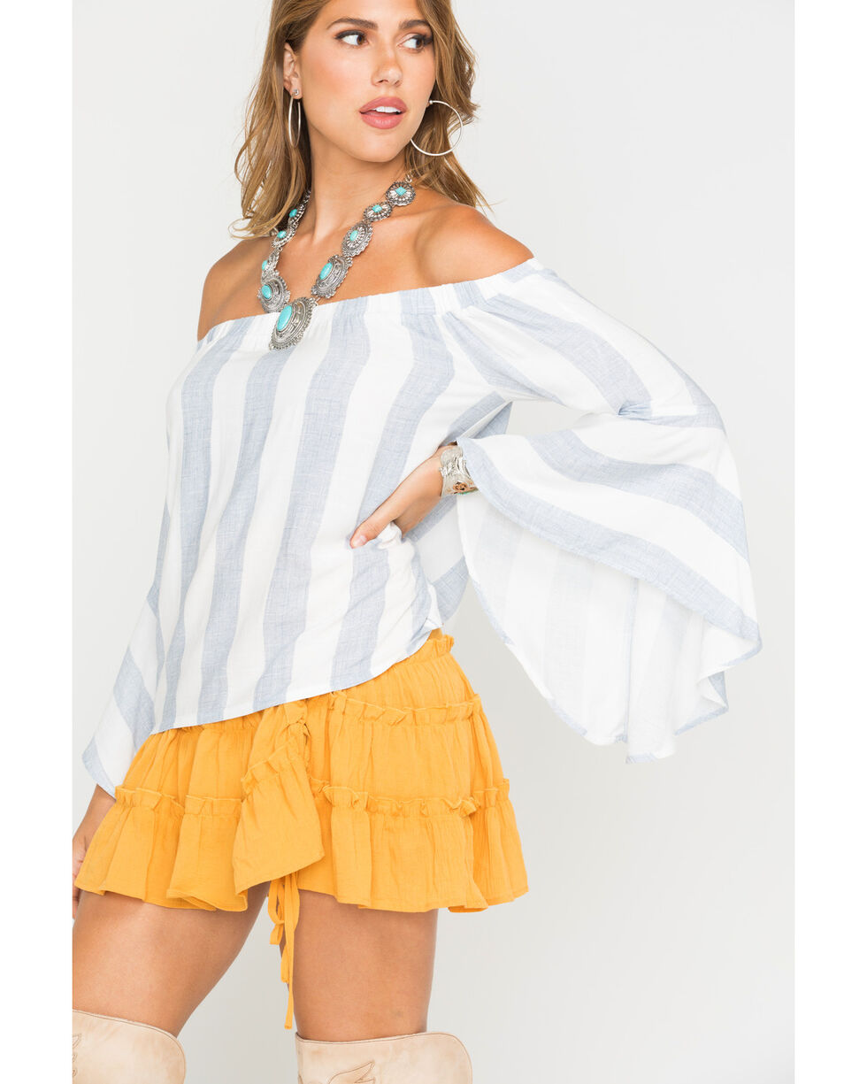 Shyanne Women's Striped Flowing Off-The-Shoulder Long Sleeve Top, Blue/white, hi-res