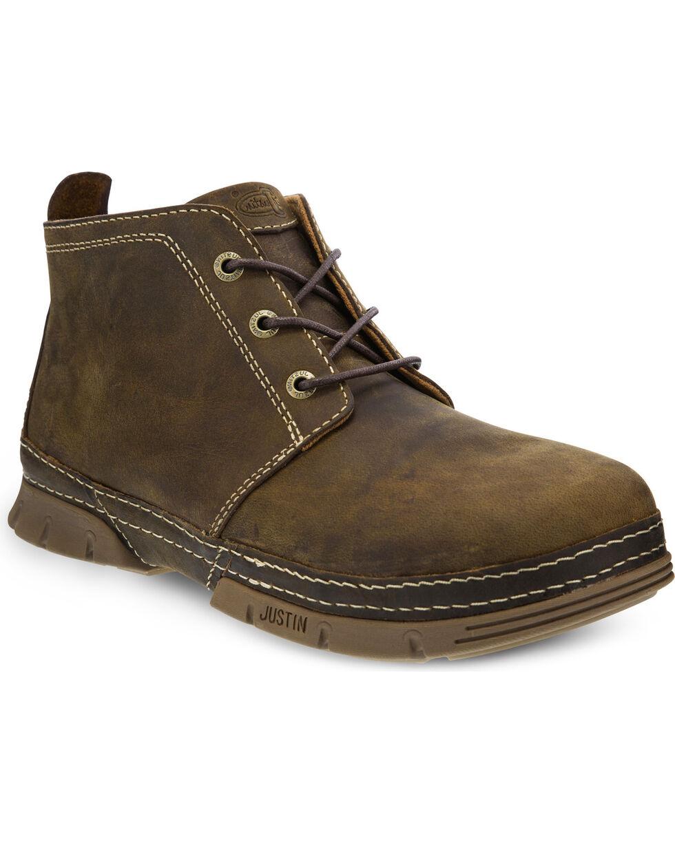 "Justin Men's Tobar Brown 4"" Lace-Up Work Boots - Steel Toe, Brown, hi-res"