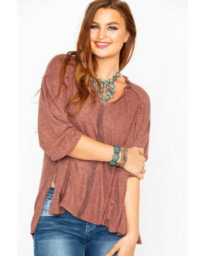 Miss Me Women's Tasseled Up Long Sleeve Top, Rust Copper, hi-res
