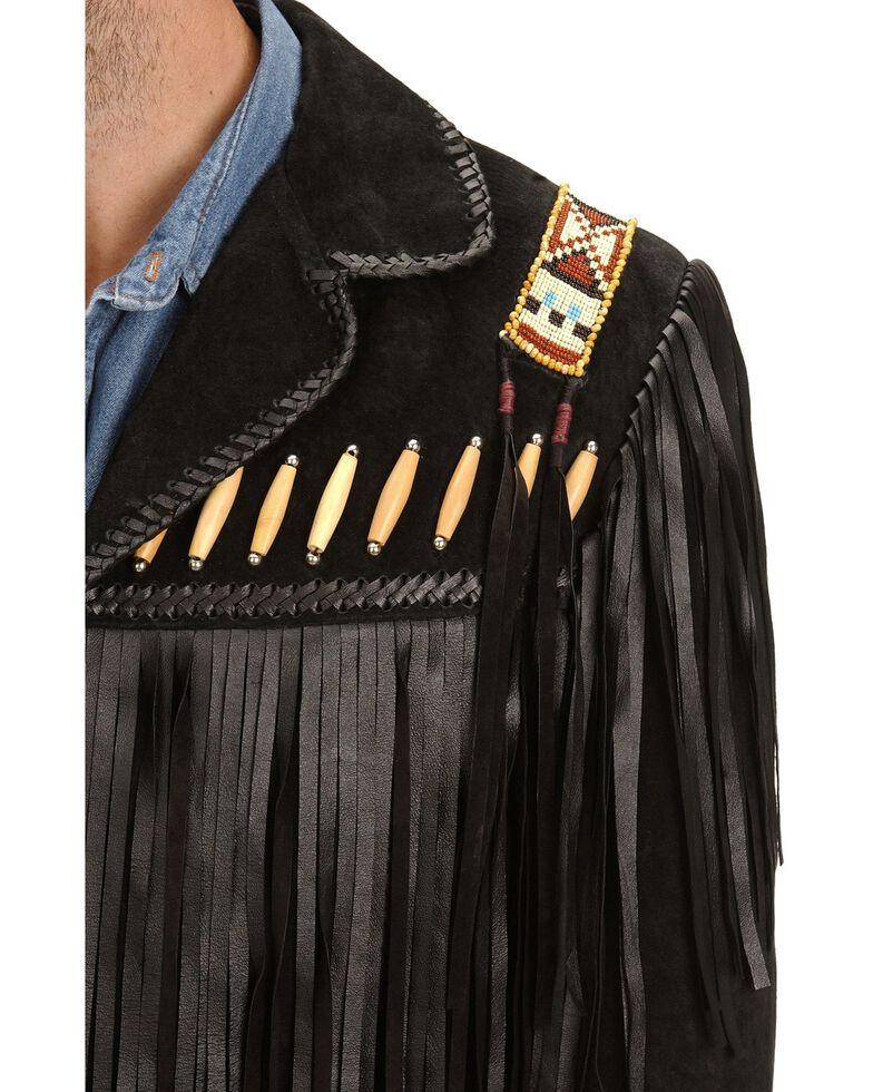 Scully Men's Bone Beaded Fringe Leather Jacket, Black, hi-res