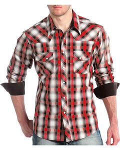 Panhandle Men's Black and Red Plaid Snap Shirt, Red, hi-res